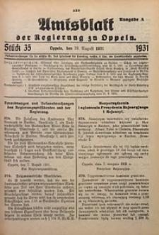 Amtsblatt der Regierung zu Oppeln für 1931, Bd. 116, St. 35. - Ausgabe A