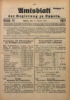 Amtsblatt der Regierung zu Oppeln für 1931, Bd. 116, St. 41. - Ausgabe A