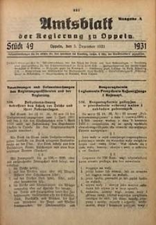 Amtsblatt der Regierung zu Oppeln für 1931, Bd. 116, St. 49. - Ausgabe A