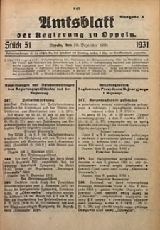 Amtsblatt der Regierung zu Oppeln für 1931, Bd. 116, St. 51. - Ausgabe A