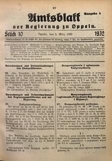 Amtsblatt der Regierung zu Oppeln für 1932, Bd. 117, St. 10. - Ausgabe A