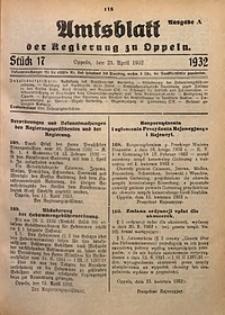 Amtsblatt der Regierung zu Oppeln für 1932, Bd. 117, St. 17. - Ausgabe A