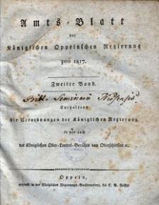 Amts-Blatt der Königlichen Oppelnschen Regierung pro 1817, 2. Bd.