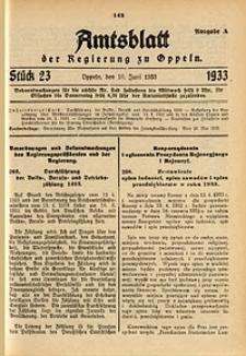 Amtsblatt der Regierung zu Oppeln für 1933, Bd. 118, St. 23