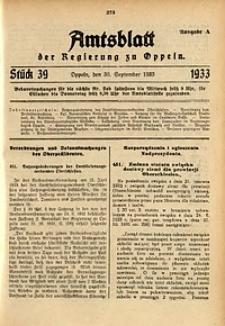 Amtsblatt der Regierung zu Oppeln für 1933, Bd. 118, St. 39