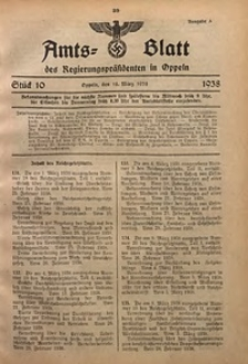 Amts-Blatt des Regierungspräsidenten in Oppeln für 1938, Bd. 123, St. 10