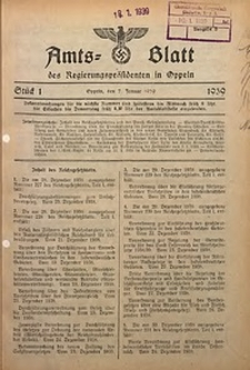 Amts-Blatt des Regierungspräsidenten in Oppeln für 1939, Bd. 124, St. 1