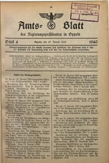 Amts-Blatt des Regierungspräsidenten in Oppeln für 1940, Bd. 125, St. 4