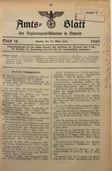 Amts-Blatt des Regierungspräsidenten in Oppeln für 1940, Bd. 125, St. 12
