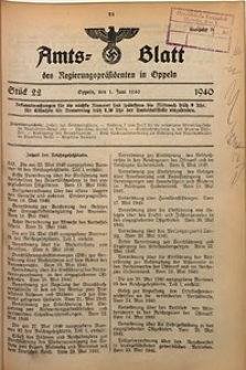 Amts-Blatt des Regierungspräsidenten in Oppeln für 1940, Bd. 125, St. 22