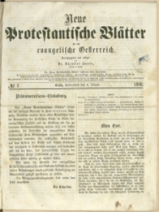 Neue Protestantische Blätter für das evangelische Oesterreich, 1868, Nry 1-29, 31-52