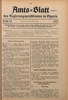 Amts-Blatt des Regierungspräsidenten in Oppeln für 1941, Bd. 126, St. 12