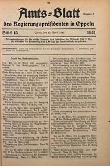 Amts-Blatt des Regierungspräsidenten in Oppeln für 1941, Bd. 126, St. 15
