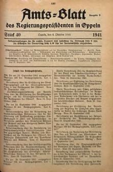 Amts-Blatt des Regierungspräsidenten in Oppeln für 1941, Bd. 126, St. 40