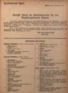 Betrifft Wahl der Kreislehrerräte für den Regierungsbezirk Oppeln