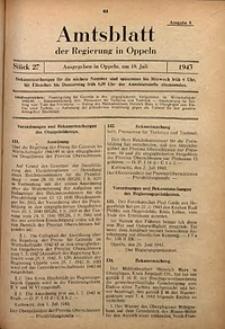 Amtsblatt der Regierung in Oppeln für 1943, Bd. 128, St. 27
