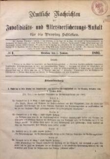 Amtliche Nachrichten der Invaliditäts- und Altersversicherungs-Anstalt für die Provinz Schlesien, 1893, Jg. 3, No 1