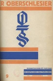 Der Oberschlesier, 1931, Jg. 13, Heft 9