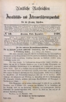 Amtliche Nachrichten der Invaliditäts- und Altersversicherungsanstalt für die Provinz Schlesien, Bd. 7, 1897, No 10