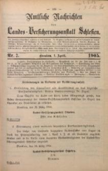 Amtliche Nachrichten der Landes-Versicherungsanstalt Schlesien, Bd. 9, 1905, Nr. 7