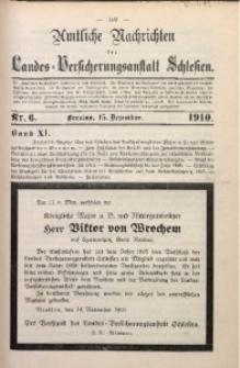 Amtliche Nachrichten der Landes-Versicherungsanstalt Schlesien, Bd. 11, 1910, Nr. 6