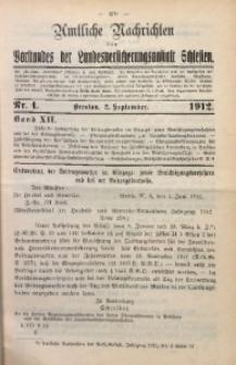 Amtliche Nachrichten des Vorstandes der Landesversicherungsanstalt Schlesien, Bd. 12, 1912, Nr. 4