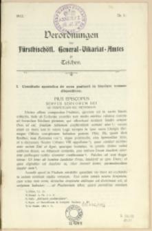 Verordnungen des fürstbischöfl. General-Vikariat-Amtes zu Teschen, 1912, Nry 1-4