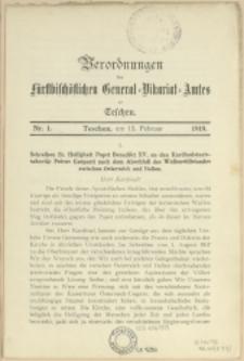 Verordnungen des fürstbischöfl. General-Vikariat-Amtes zu Teschen, 1919, Nry 1-7