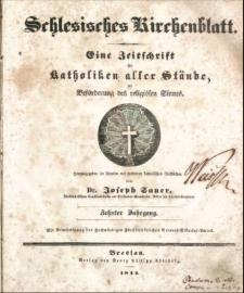 Schlesisches Kirchenblatt, 1844, Jg. 10, Inhalts-Verzeichniß