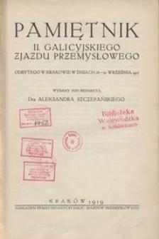 Pamiętnik II. Galicyjskiego Zjazdu Przemysłowego odbytego w Krakowie w dniach 28-30 września 1917