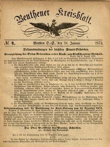 Beuthener Kreisblatt, 1874, No 4