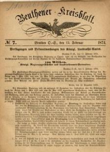 Beuthener Kreisblatt, 1874, No 7