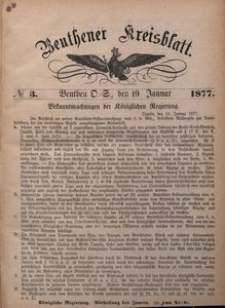 Beuthener Kreisblatt, 1877, No 3