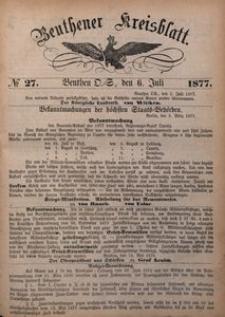 Beuthener Kreisblatt, 1877, No 27