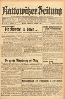 Kattowitzer Zeitung, 1938, Jg. 70, Nr. 137