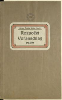 Rozpočet, 1939 = Voranschlag, 1939