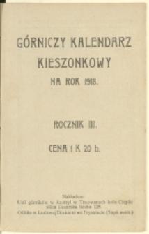 Górniczy Kalendarz Kieszonkowy na Rok 1918