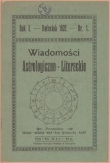 Wiadomości Astrologiczno-Literackie, 1927, Nry 1-5