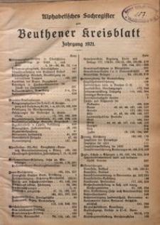 Alphabetisches Sachregister zum Beuthener Kreisblatt, Jagrgang 1921