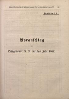 Voranschlag der Ortsgemeinde N.N. für das Jahr 1867