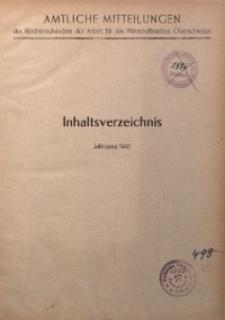 Amtliche Mitteilungen, Inhaltsverzeichnis, Jahrgang 1942