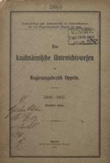 Das Kaufmännische Unterrichtswesen im Regierungsbezirk Oppeln 1906/1907