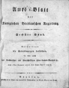 Amts-Blatt der Königlichen Breslauschen Regierung, 1816, Bd. 6, Chronologisches Verzeichniß