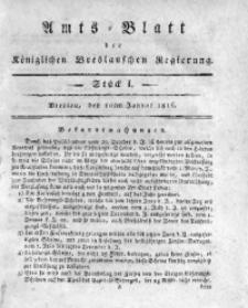 Amts-Blatt der Königlichen Breslauschen Regierung, 1816, Bd. 6, St. 1