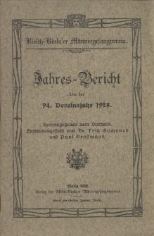 Jahres-Bericht über das 94. Vereinsjahr 1928 / Bielitz-Biala'er Männergesangverein