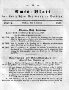 Amts-Blatt der Königlichen Regierung zu Breslau, 1848, Bd. 39, St. 5