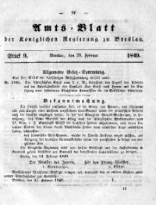 Amts-Blatt der Königlichen Regierung zu Breslau, 1849, Bd. 40, St. 9