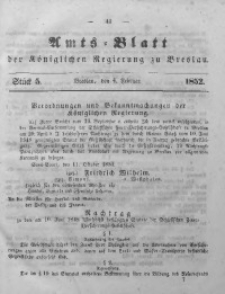Amts-Blatt der Königlichen Regierung zu Breslau, 1852, Bd. 43, St. 5