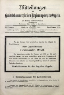 Mitteilungen der Handelskammer für den Regierungsbezirk Oppeln, 1910, Jg. 16, Nr. 10/11