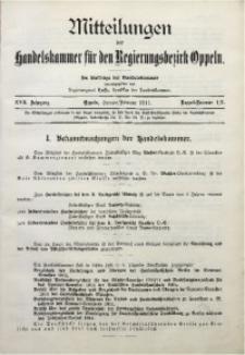 Mitteilungen der Handelskammer für den Regierungsbezirk Oppeln, 1911, Jg. 17, Nr. 1/2